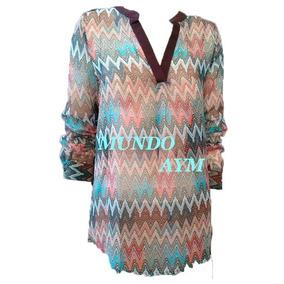 Blusa Tunica Gasa Estampada Camisa De Mujer Liquidación