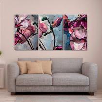 Cuadros Decorativos Oleo Magnolias Purpura 3 Pz 40x60