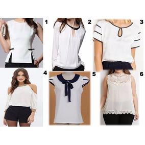 Blusas Blancas Y Negras Moda Asiatica Casual Unicolor Chifon