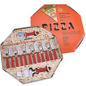Kit Para Pizza 14 Peças Vermelho - Tramontina