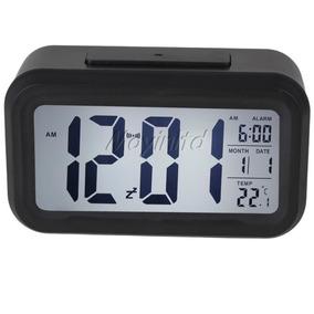 7f0083e6254 Relógio De Mesa Digital Data Hora Temperatura Lcd Luz Led