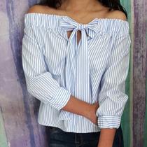Hermosa Blusa Blanco Azul Rayas Moño Trendy Envío Gratis