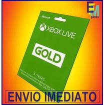 Xbox Live Gold Brasil-br Usa Cartão 3 Meses Envio Imediato