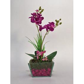 Arranjo De Orquídea Artificial Rosa Escuro Em Vaso De Vidro