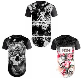 Kit 03 Camiseta Camisa Long Line Oversid Swag Atacado Floral