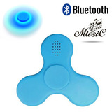 Spinner Fidget Luz Led Bocina Bluetooth Antiestres Azul