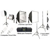 Kit De Iluminação Estúdio Fotográfico Ágata 2 50x70 110v Bag