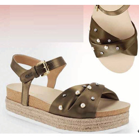 Sandalias Para Dama Miracol Color Negro Y Olivo Mod.5608