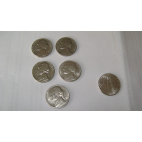 6 Monedas De Estados Unidos De 5 Centavos De Dolar