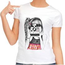 Camiseta Feminina Desenho Personalizável Fotografia Photo