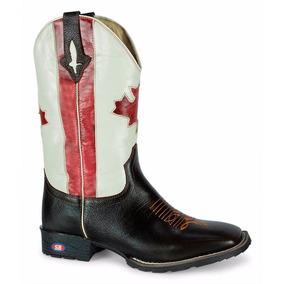 Bota Botina Barata Bandeira Canada Bico Quadrado Bruta