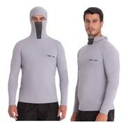 Camisa Proteção Uv Ninja Cinza Pesca Touca Protege À Insetos