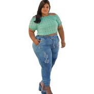 Calça Jeans Jogger Plus Size Moda Feminina Lycra Elastico Mc