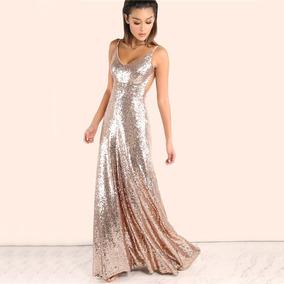 Vestido Longo Madrinha Formatura Festa Dourado Importado 152