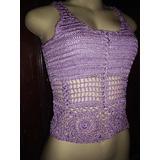 Blusa Croche Lilas Trabalhada Rosas Tamanho M