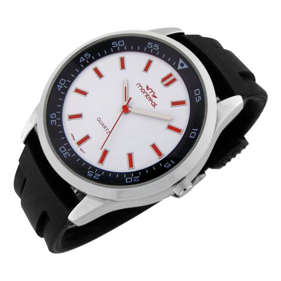 Reloj Montreal Hombre Ml813 Malla De Caucho