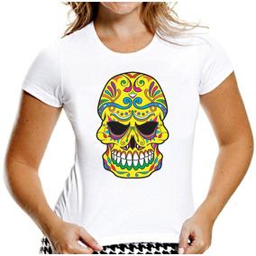 Camiseta Baby Look Caveiras Mexicanas Sugar Skull Mod 4