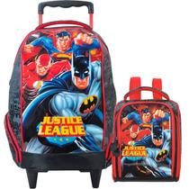 Mochila Com Rodinha 16 + Lancheira Liga Da Justiça Batman