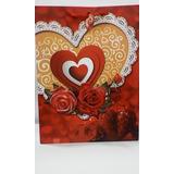 Sacola Decorada Presente Vermelho Flores 40cmx 30cm