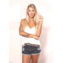 Shorts Jeans Hot Pants Cos Alto Lady Rock Shorts Promoção