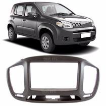 Moldura 2 Din Fiat Uno 2015 C/ Duto Ar Condicionado Preto