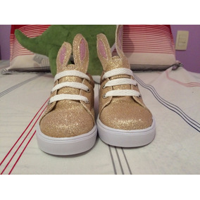 Zapatos Bebe - Tenis Conejo Oro