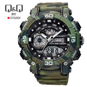 Reloj Deportivo Camuflado Verde Militar Hombre Q & Q Citizen