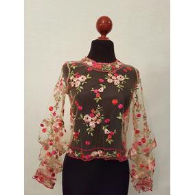 Blusa De Tul Bordada Con Flores Nueva Americana
