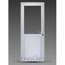 Puerta Módena Aluminio Pesado 80x200 Cm 1/2 Vidrio Cerradura
