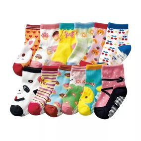 Kit 12 Pares Meia Infantil Antiderrapante 0-8 Anos Meninas