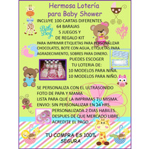 Loteria Baby Shower 100 Cartas Imprimible!