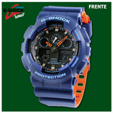 Reloj Casio G-shock Ga-100l-4a (azul Eléctrico) - Nuevo