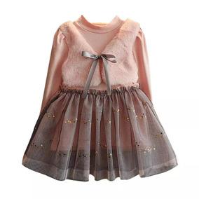 Vestido De Invierno Para Niña Niñas Con Chaleco Manga Larga