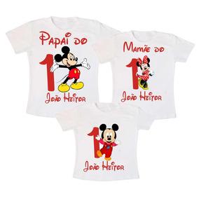 Kit 3 Camiseta Mickey Aniversário Infantil Festas