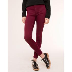 Pantalon Skinny Tiro Alto Vino Pull & Bear