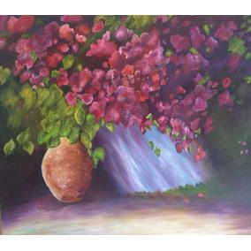 Oleo Decorativo Pintura Cuadro Jarron Flores Lila