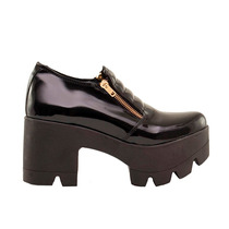 Zapato Mujer Doble Cierre Cuero Ecológico Charol Negro