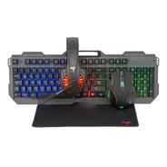Combo Kit Gamer Teclado + Auricular + Mouse + Pad 4 En 1 Luz