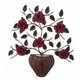Painel Arranjo Quadro Decorativo Vaso Flor De Metal
