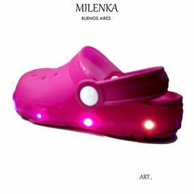 Sandalia Calada Goma Crocs Con Luz Leed Niñas Milenka