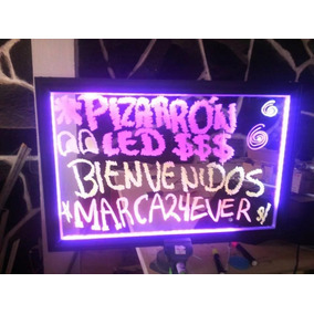 Pizarron Acrilico Led 80x40cm 3mm Más Kit Anuncio Luminoso