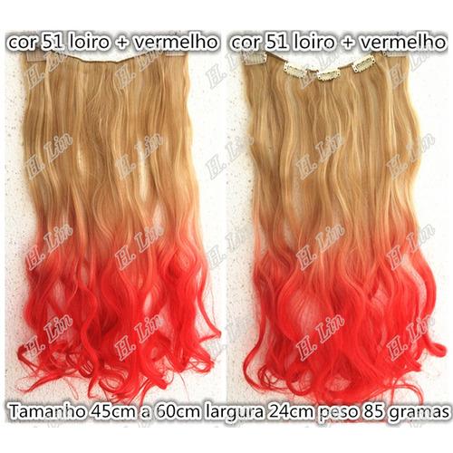 Aplique Tictac Californiana Ombré Hair 60cm Loiro Vermelho