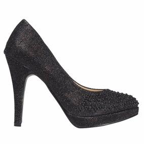Zapatos Luis Xv Taco Alto Negro Sintetico De Fiesta
