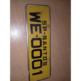 Placa De Carro Amarelo Sp - Santos We - 0001
