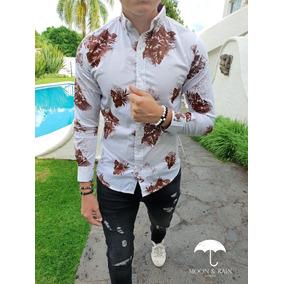 Camisa Slim Fit Blanca Flores Plata Moon & Rain