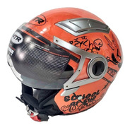 Casco Moto Abierto Ntr Ff500 Naranja Scooter Solomototeam