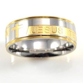 Anel Aço Inox Jesus Te Ama Tam. 29 Masculino Feminino
