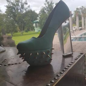 Zapatos De Dama Con Tacon Transparente De 20cm Color Tiffany