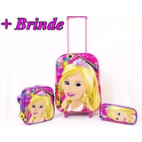 Kit Mochila C/ Rodinhas Barbie Princesa Lancheira 3d +estojo