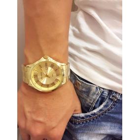 Relógio Masculino Luxo Atlantis Dourado Original Elite